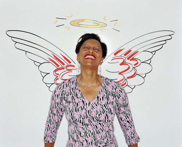 Woman connected to her inner angel