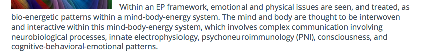 Info about how the mind-body system of energy psychology energy therapy operates from the Association of Comprehensive Energy Psychology or ACEP