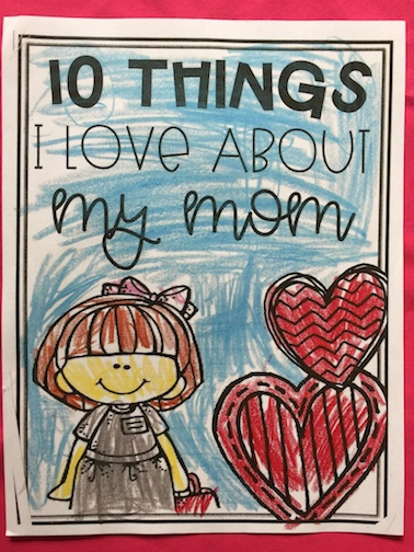 A child's coloring of what he likes about his mom.