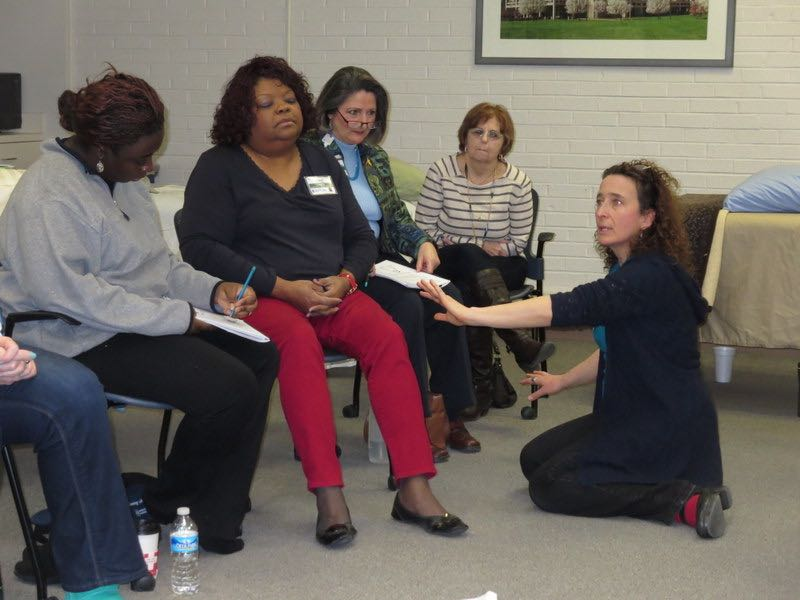 Photo of Lucrezia M. demo'ing a Pain Drain (also called a Siphon) from a 2015 class.