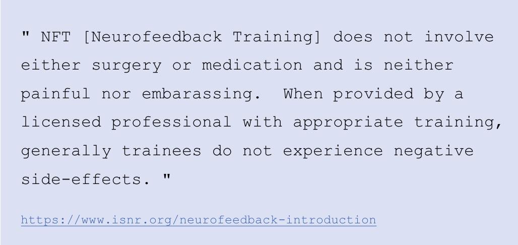 Neurofeedback training side effects per ISNR.org